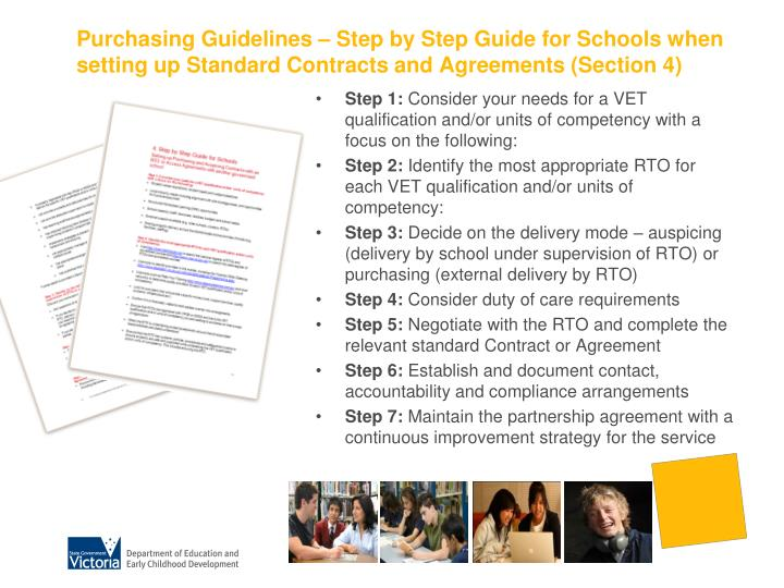 Purchasing Guidelines – Step by Step Guide for Schools when setting up Standard Contracts and Agreements (Section 4)