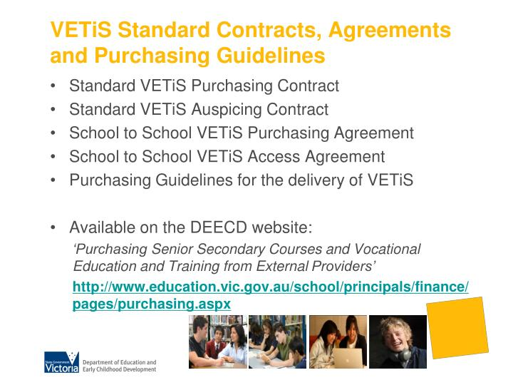 VETiS Standard Contracts, Agreements and Purchasing Guidelines