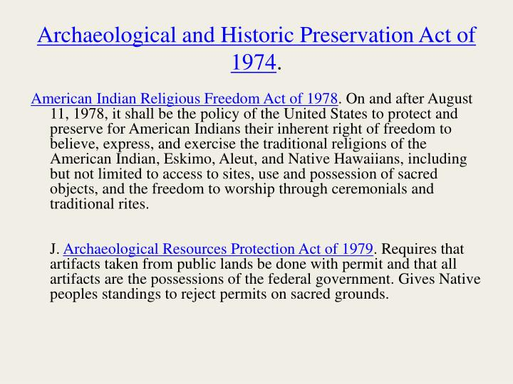 Archaeological and Historic Preservation Act of 1974