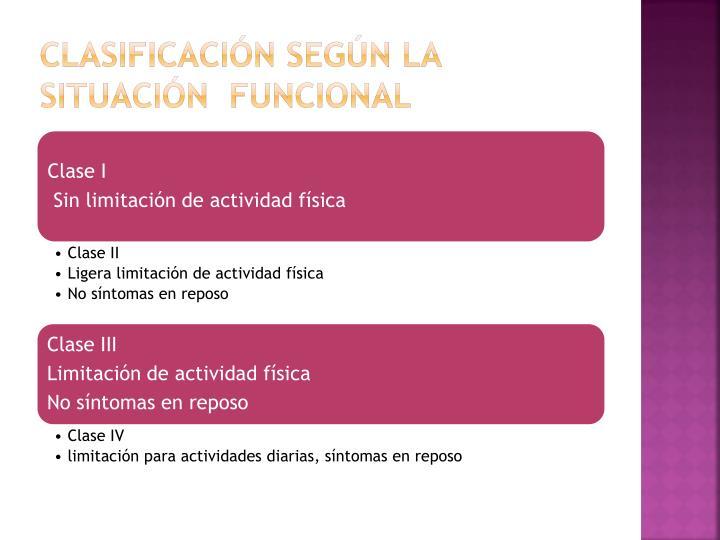 Clasificación según la situación  funcional