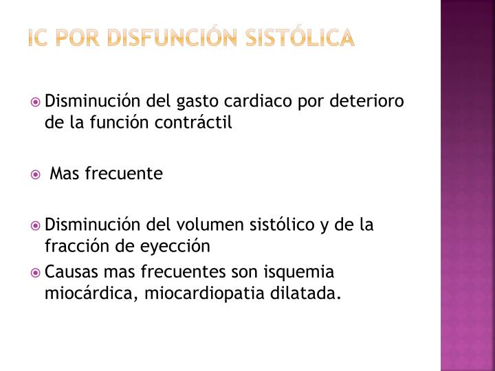 Ic por disfunción sistólica