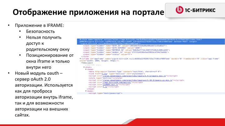 Отображение приложения на портале
