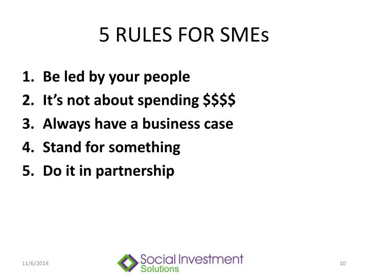 5 RULES FOR SMEs