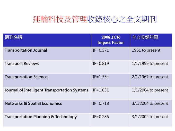 運輸科技及管理