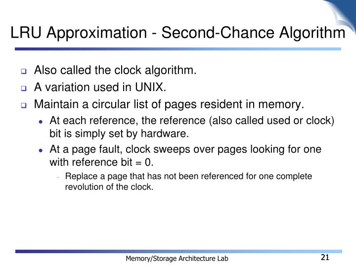 LRU Approximation - Second-Chance Algorithm