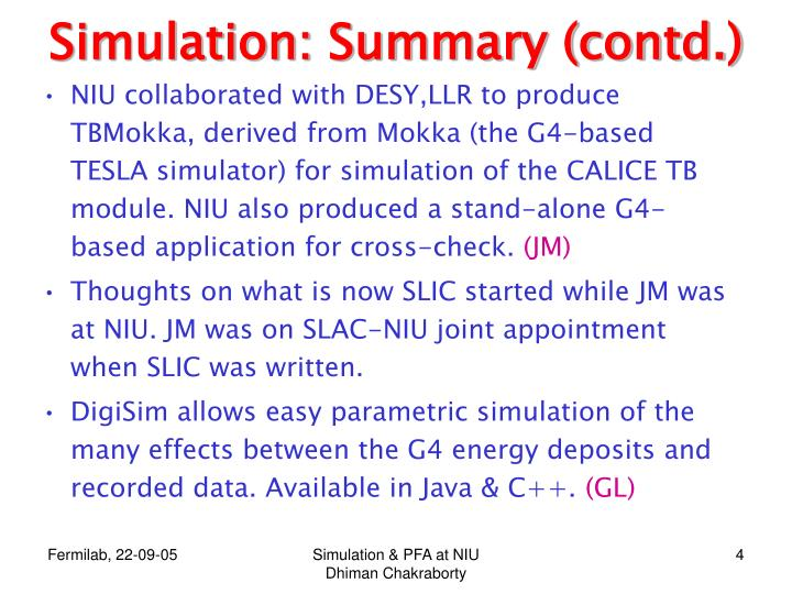 Simulation: Summary (contd.)