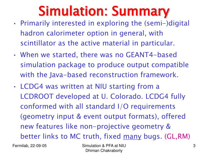 Simulation: Summary