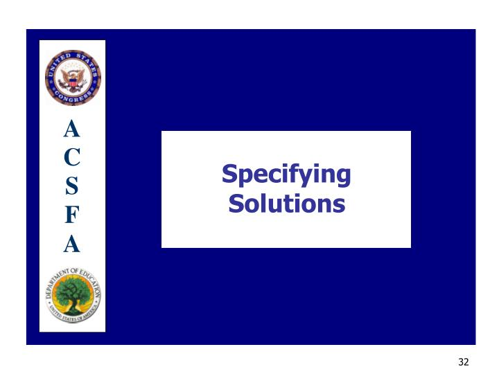 Specifying Solutions
