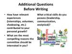additional questions before writing1