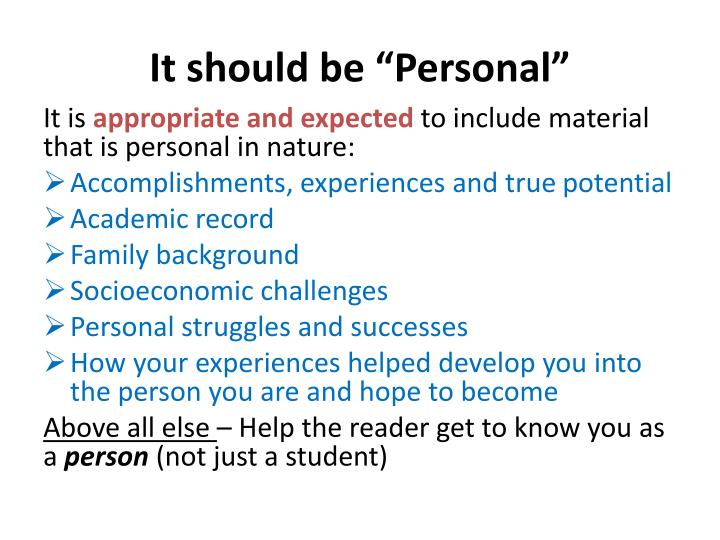 "It should be ""Personal"""