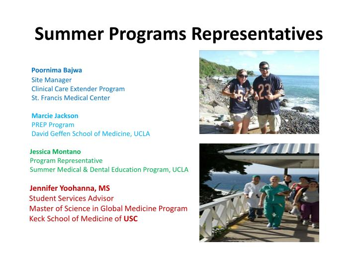 Summer Programs Representatives