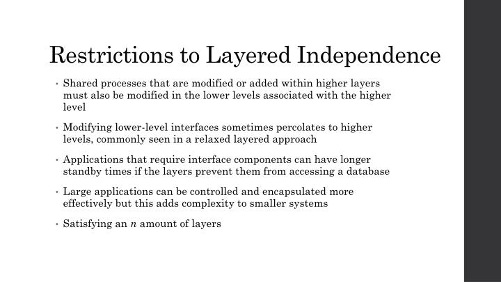 Restrictions to Layered Independence
