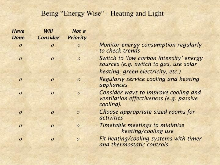 "Being ""Energy Wise"" - Heating and Light"