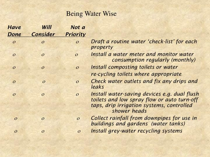 Being Water Wise