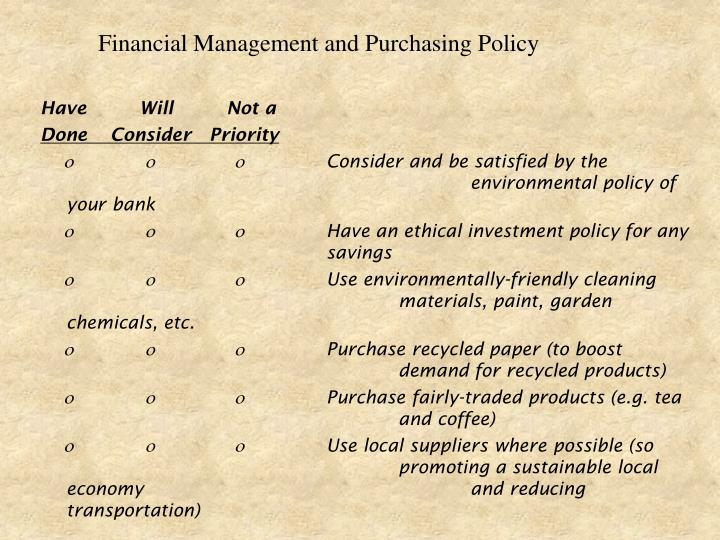Financial Management and Purchasing Policy