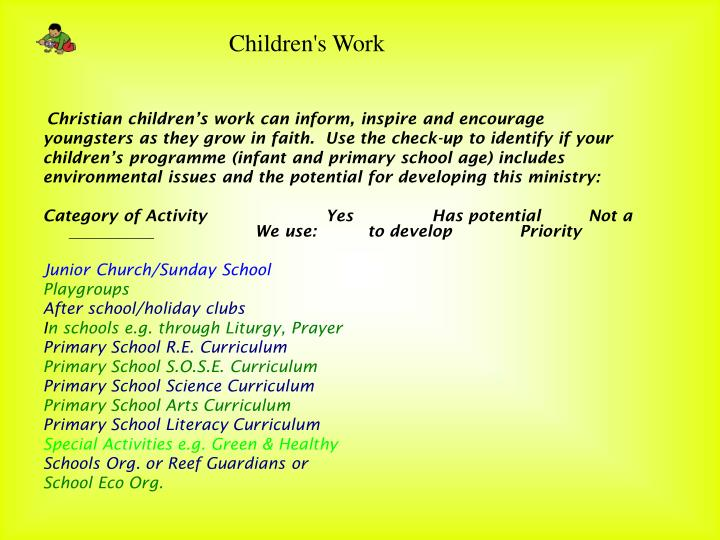 Christian children's work can inform, inspire and encourage