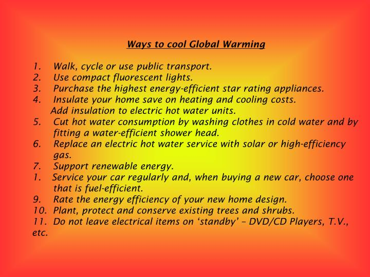 Ways to cool Global Warming