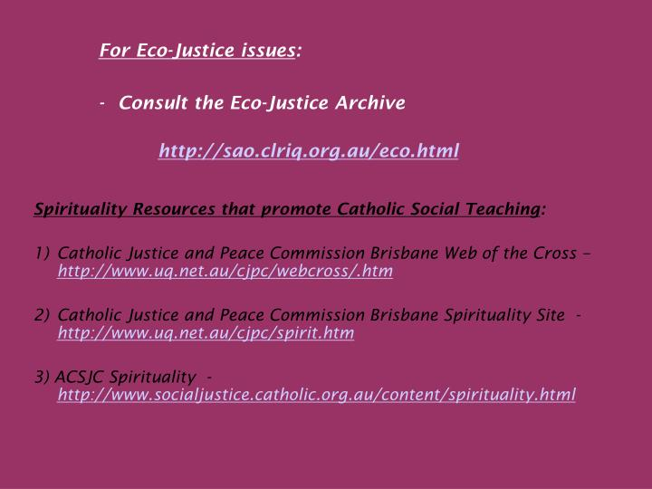 For Eco-Justice issues