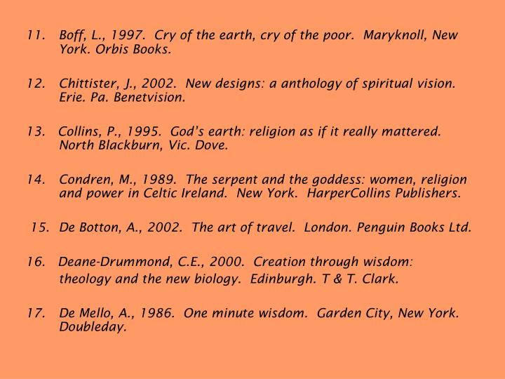 11.	Boff, L., 1997.  Cry of the earth, cry of the poor.  Maryknoll, New York. Orbis Books.