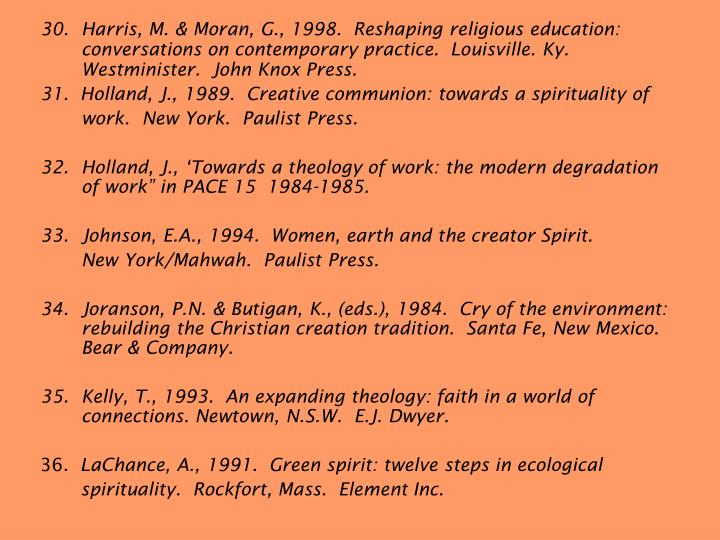 30.	Harris, M. & Moran, G., 1998.  Reshaping religious education: conversations on contemporary practice.  Louisville. Ky. Westminister.  John Knox Press.