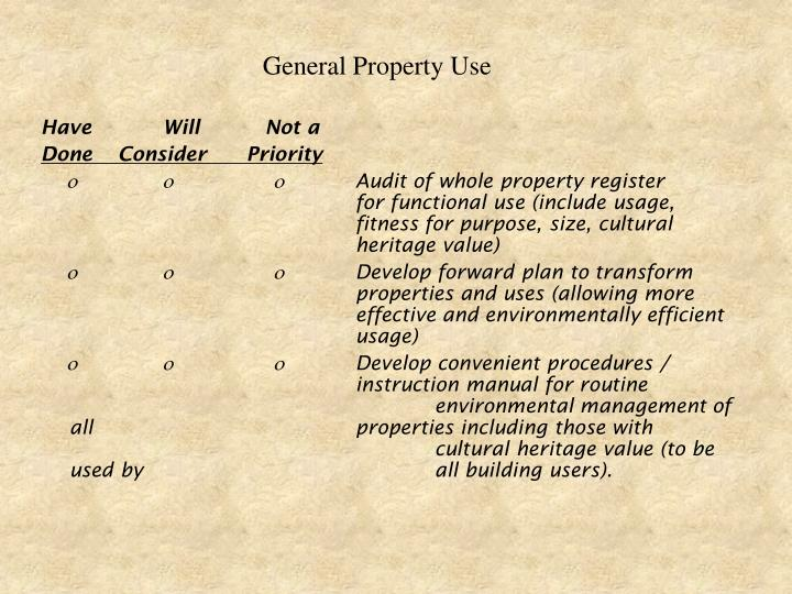 General Property Use