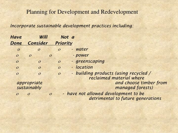 Planning for Development and Redevelopment