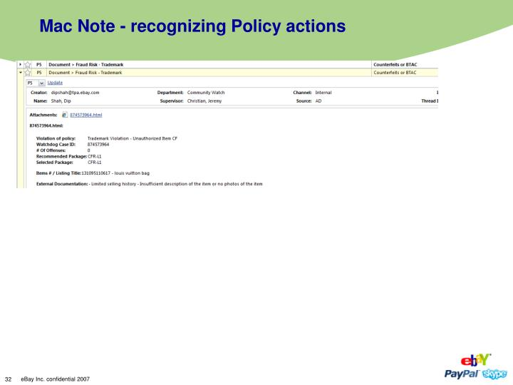 Mac Note - recognizing Policy actions