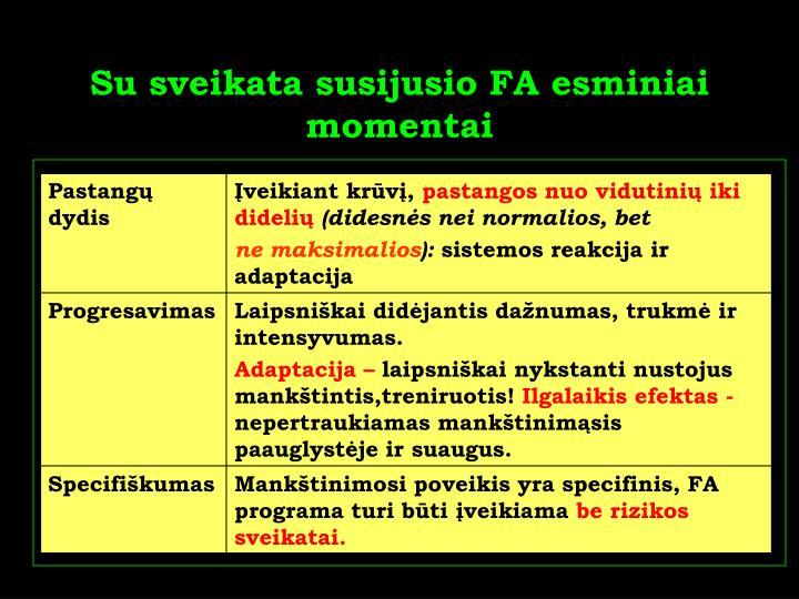 Su sveikata susijusio FA esminiai momentai