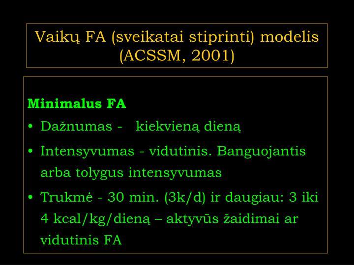 Vaikų FA (sveikatai stiprinti) modelis (ACSSM, 2001)