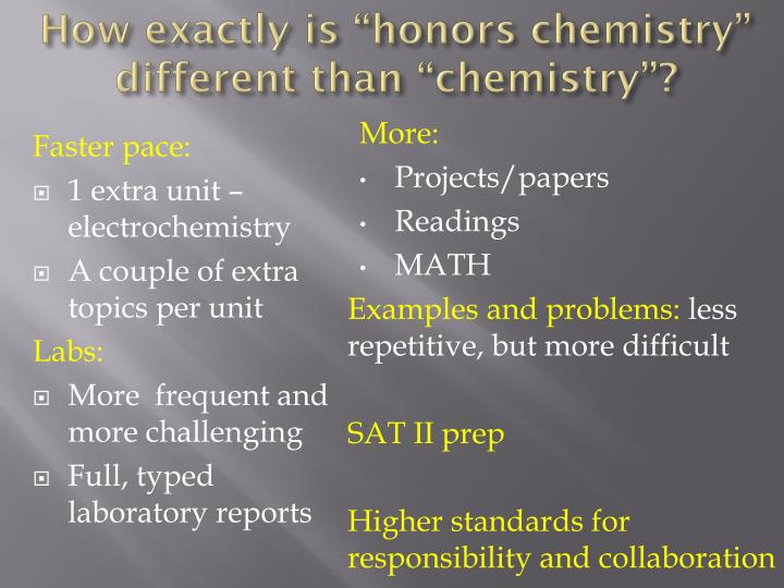 "How exactly is ""honors chemistry"" different than ""chemistry""?"