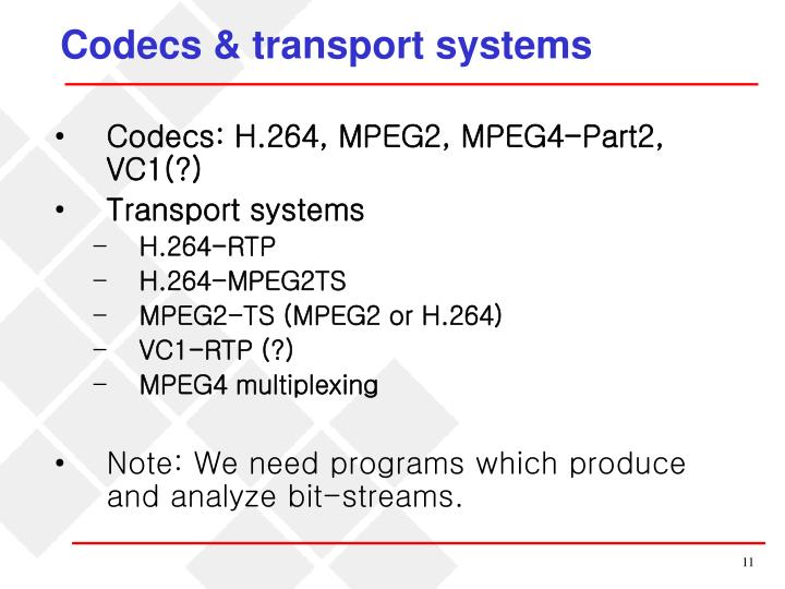Codecs & transport systems