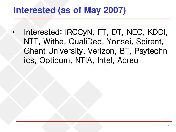 Interested (as of May 2007)