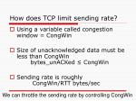 how does tcp limit sending rate