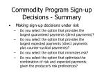 commodity program sign up decisions summary1