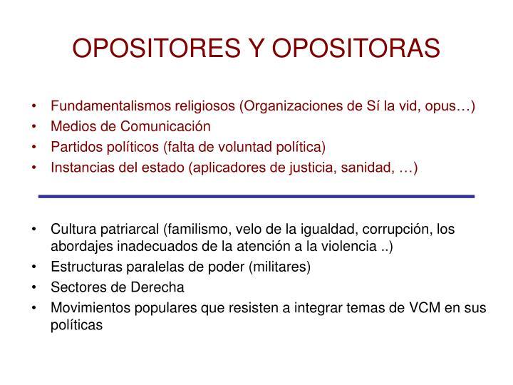 OPOSITORES Y OPOSITORAS
