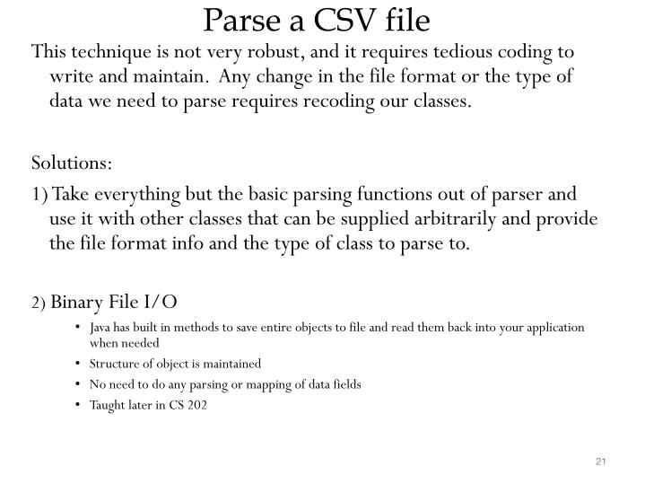 Parse a CSV file