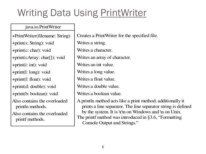 Writing Data Using