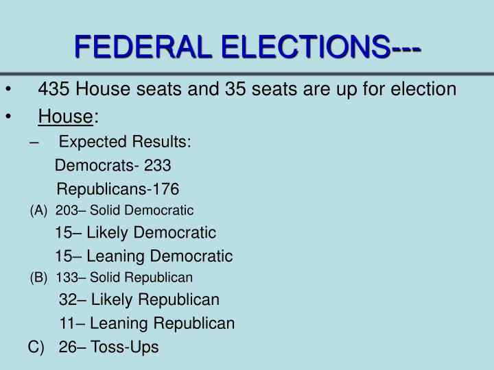 FEDERAL ELECTIONS---