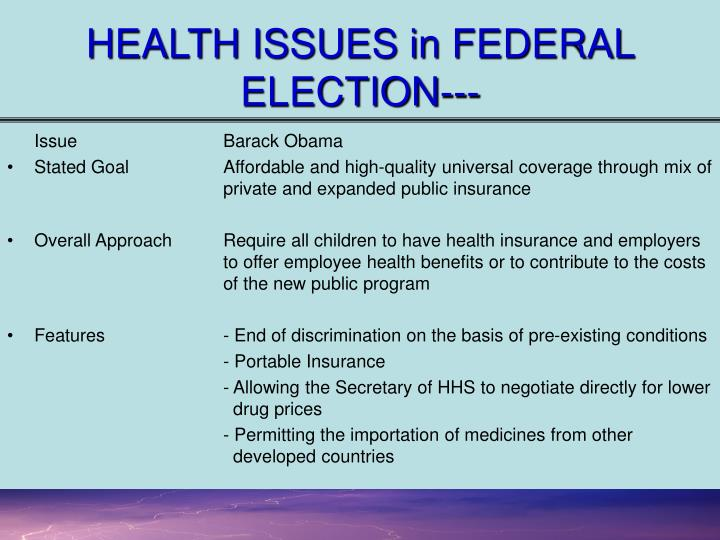 HEALTH ISSUES in FEDERAL ELECTION---