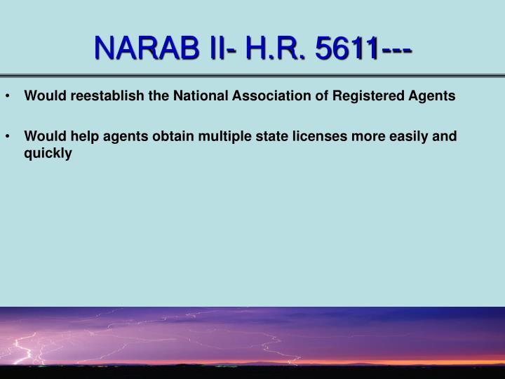 NARAB II- H.R. 5611---