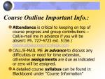course outline important info