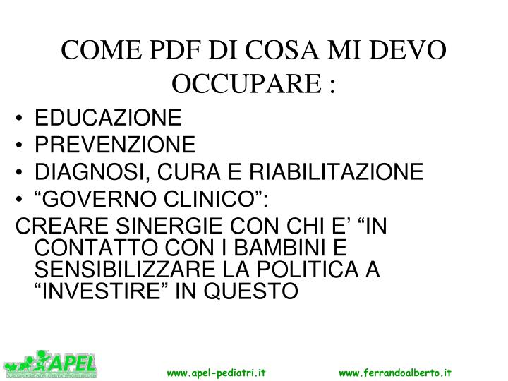 COME PDF DI COSA MI DEVO OCCUPARE :