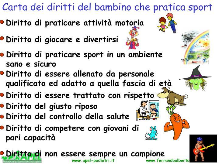 Carta dei diritti del bambino che pratica sport