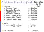 cost benefit analysis 1968