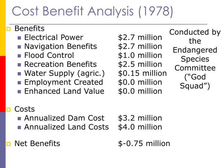 Cost Benefit Analysis (1978)