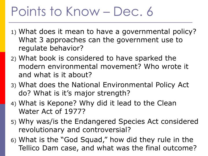 Points to Know – Dec. 6