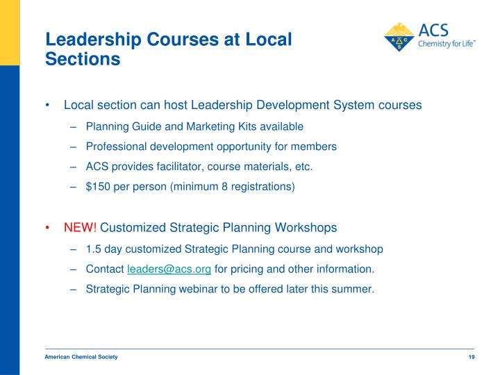 Leadership Courses at Local Sections