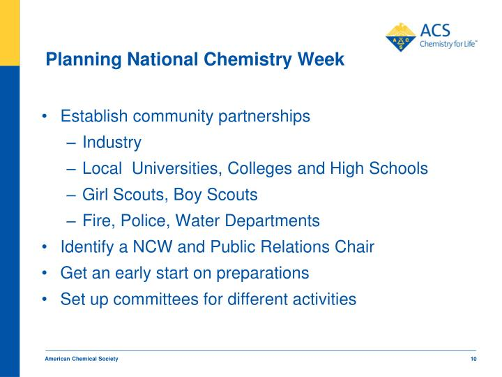 Planning National Chemistry Week