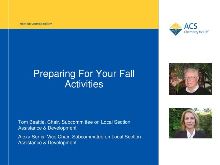Preparing for your fall activities