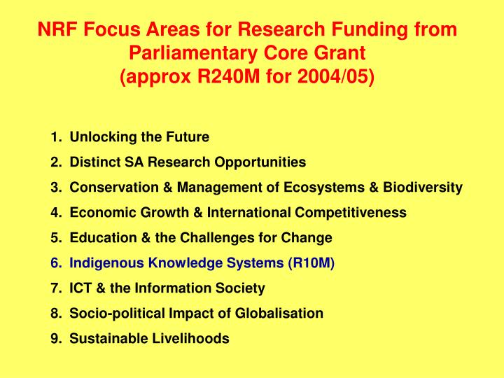 NRF Focus Areas for Research Funding from Parliamentary Core Grant